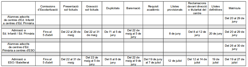 Calendari ESO i Batxillerat